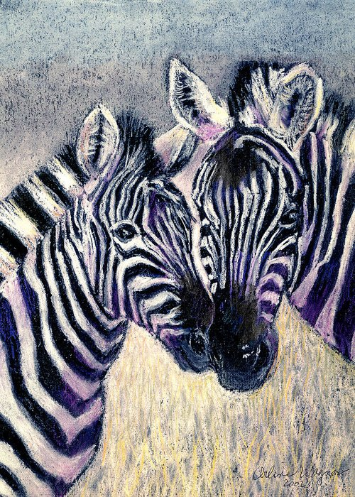 Zebras Greeting Card featuring the pastel Together by Arline Wagner