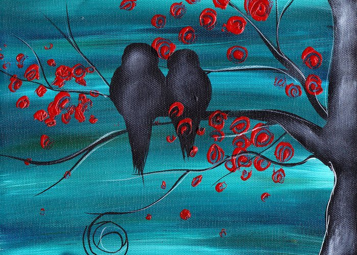 Love Birds Greeting Card featuring the painting Together As One by Abril Andrade Griffith