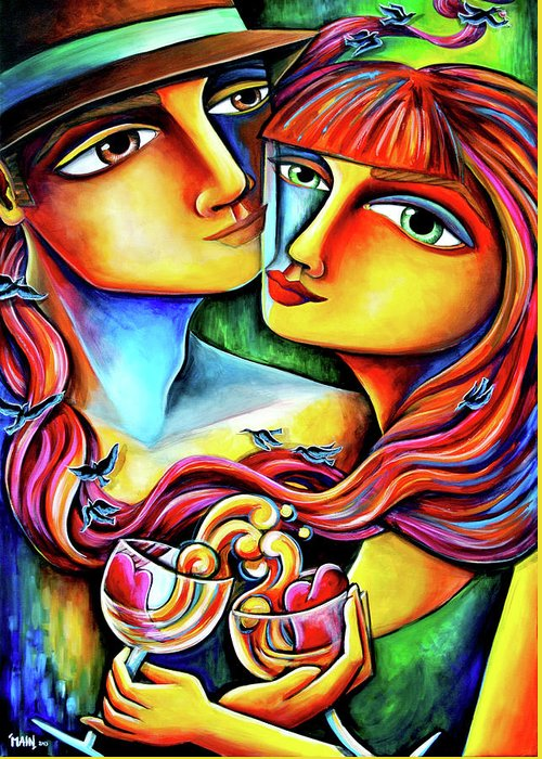 Art For Saleart Prints Greeting Card featuring the painting Together In Love by Jennifer Main