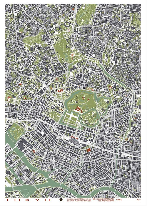 Tokyo Map Greeting Card featuring the digital art Tokyo City Map Engraving by Jasone Ayerbe- Javier R Recco