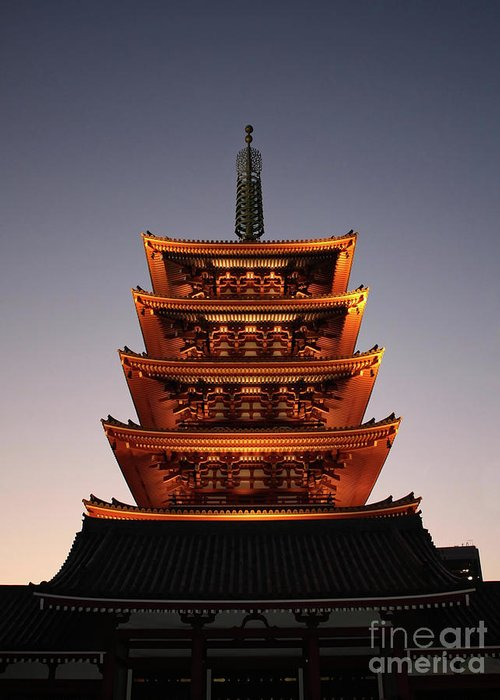 Tokyo Greeting Card featuring the photograph Tokyo Temple Lights At Dusk by Carol Groenen