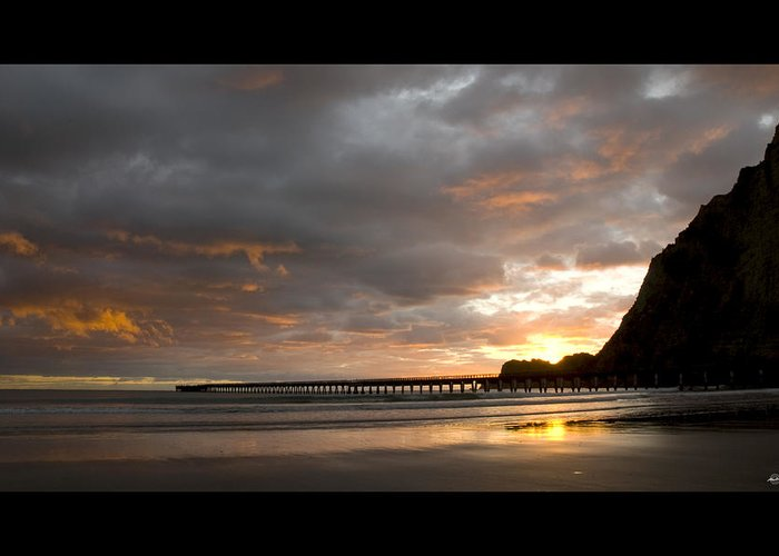 Tolaga Greeting Card featuring the photograph Tolaga Bay Pier II by Andrea Cadwallader