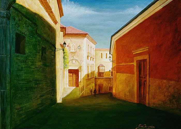 Toledo Greeting Card featuring the painting Toledo Street Scene In Toledo Spain by Gary Hernandez