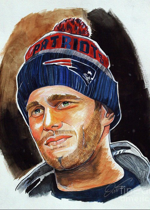 Tom Brady Greeting Card featuring the drawing Tom Brady by Dave Olsen