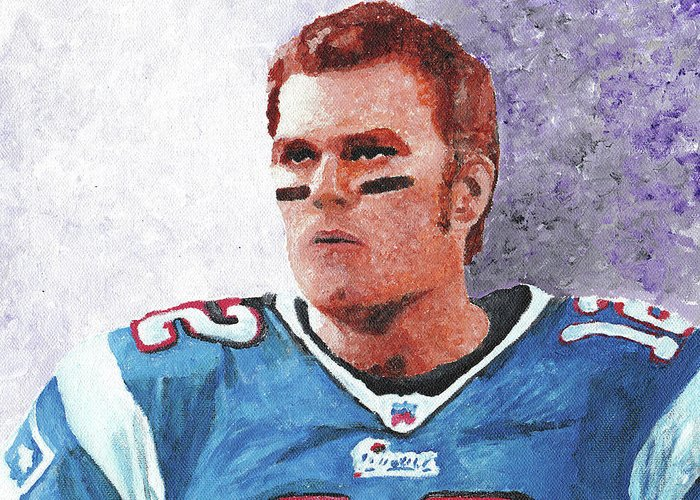 Tom Greeting Card featuring the painting Tom Brady by William Bowers