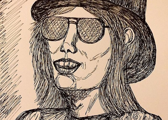Portrait Greeting Card featuring the drawing Tom Petty by Caroline Lifshey