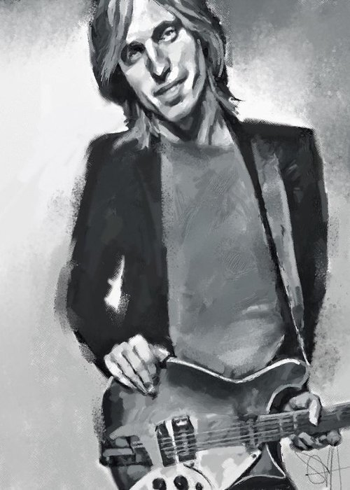 Tom Petty Music Portrait Musician Rock Greeting Card featuring the digital art Tom by Scott Waters