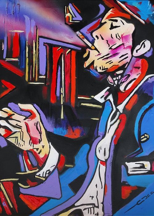Tom Waits Greeting Card featuring the painting Tom Traubert's Blues by Eric Dee