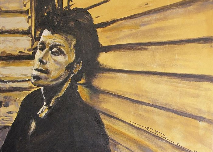 Tom Waits Greeting Card featuring the painting Tom Waits by Eric Dee