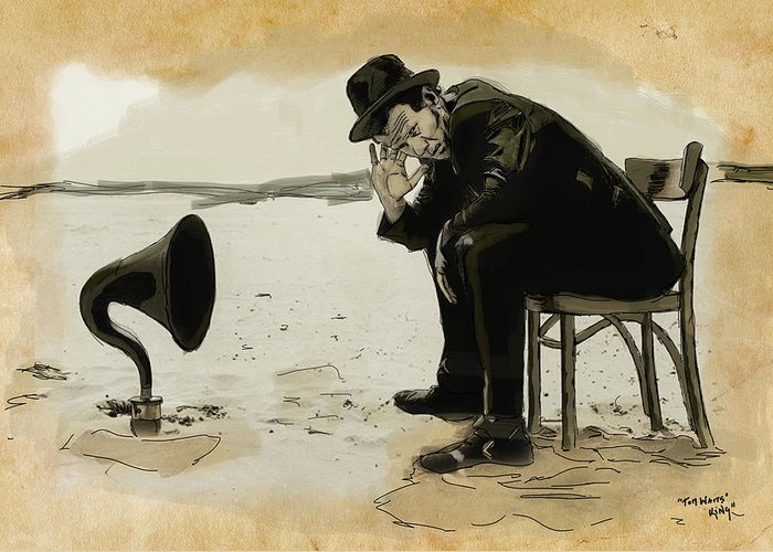 Tom Greeting Card featuring the digital art Tom Waits by Sean King