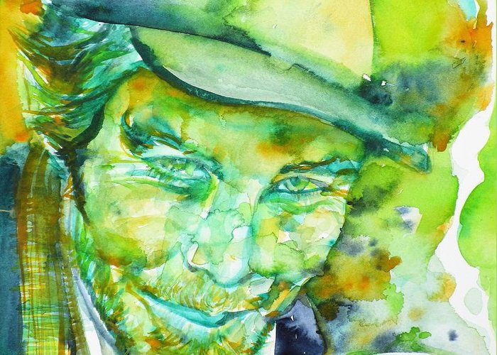 Tom Waits Greeting Card featuring the painting Tom Waits - Watercolor Portrait.5 by Fabrizio Cassetta
