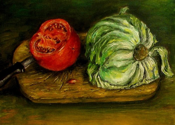 Tomatoes Greeting Card featuring the painting Tomato And Cabbage Oil Painting Canvas by Natalja Picugina