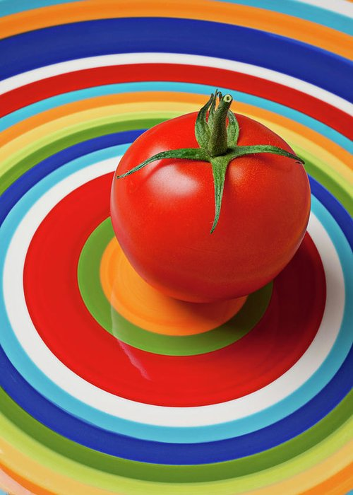 Tomato Plate Circle Food Fruit Greeting Card featuring the photograph Tomato On Plate With Circles by Garry Gay