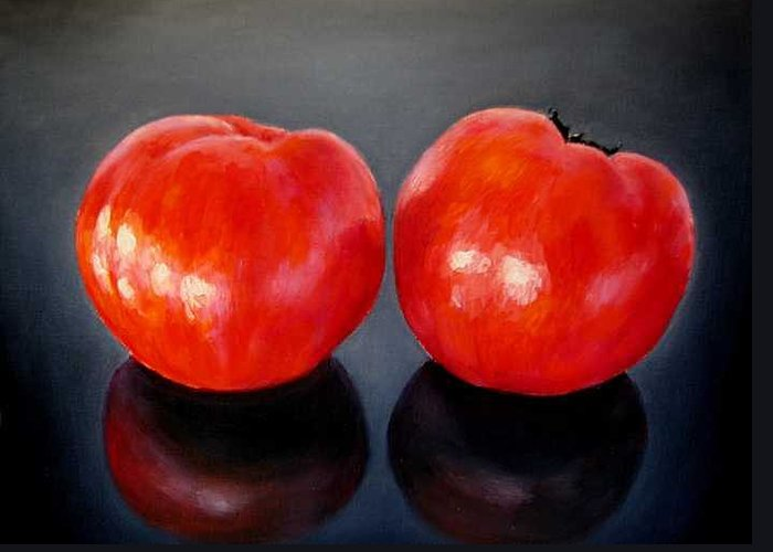 Tomatoes Greeting Card featuring the painting Tomatoes Original Oil Painting by Natalja Picugina