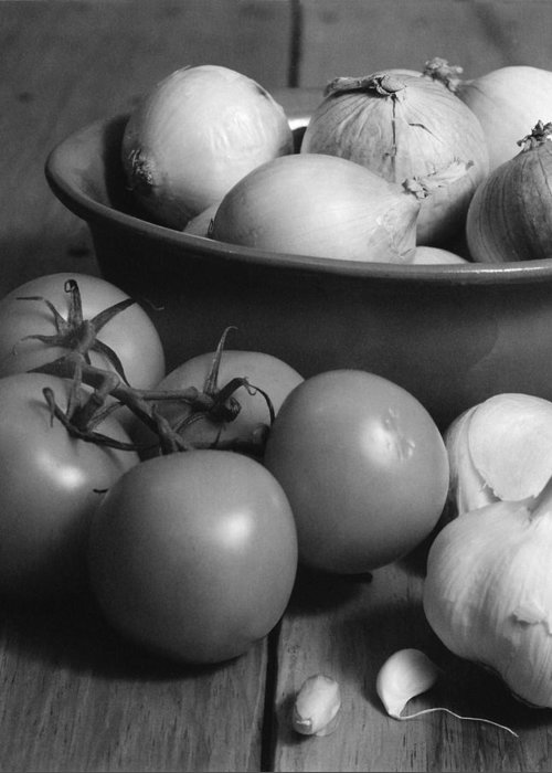 Cooking Greeting Card featuring the photograph Tomatos Onion And Garlic by Henry Krauzyk