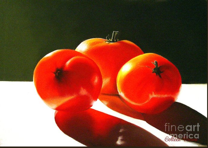 Red Greeting Card featuring the painting Tomayta Tomato by Colleen Brown