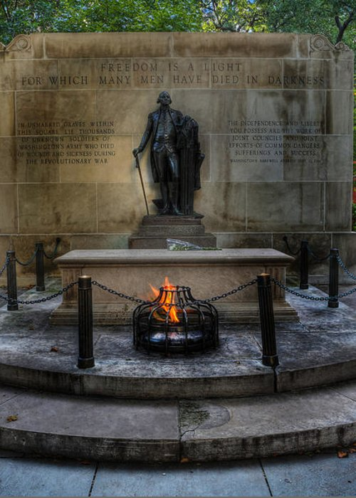 Lee Dos Santos Greeting Card featuring the photograph Tomb Of The Unknown Revolutionary War Soldier - George Washington by Lee Dos Santos