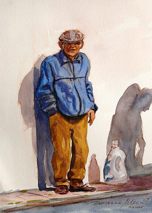 Old Timer Greeting Card featuring the painting Tommy From Naxxar by Doranne Alden