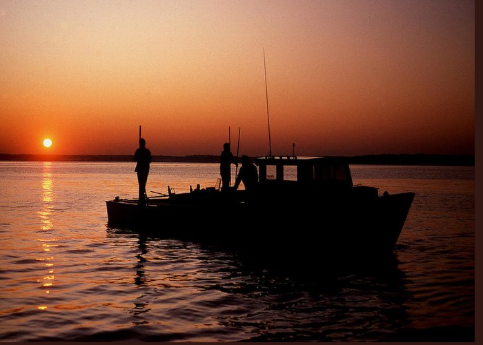 Maritime Greeting Card featuring the photograph Tonger's Sunrise by Skip Willits