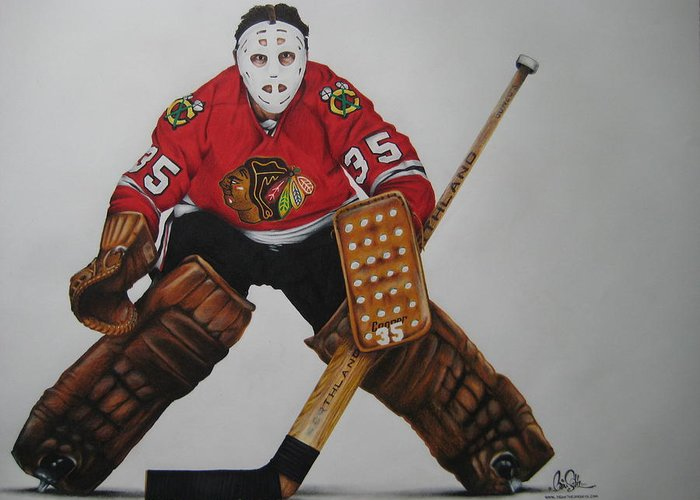 Hockey Greeting Card featuring the drawing Tony Esposito by Brian Schuster