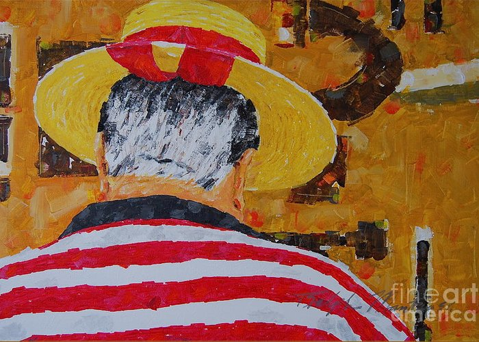 People Situation Greeting Card featuring the painting Tony Lover Of The Arts by Art Mantia