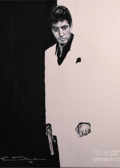 Al Pacino Greeting Card featuring the painting Tony Montana - Scarface by Eric Dee
