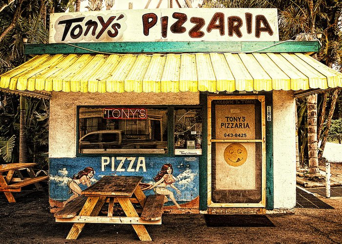 Tony's Pizzaria Greeting Card featuring the photograph Tony's Pizzaria by Ron Regalado