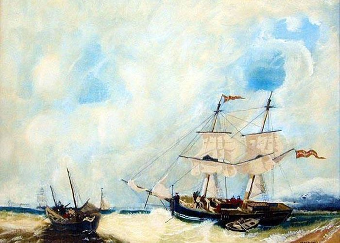 Sailing Greeting Card featuring the painting Too Close To Shore by Richard Le Page