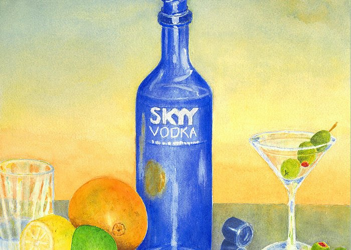 Vodka Greeting Card featuring the painting Too Many Skies by Karen Fleschler