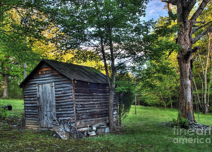 Landscape Greeting Card featuring the photograph Toolshed by Pete Hellmann