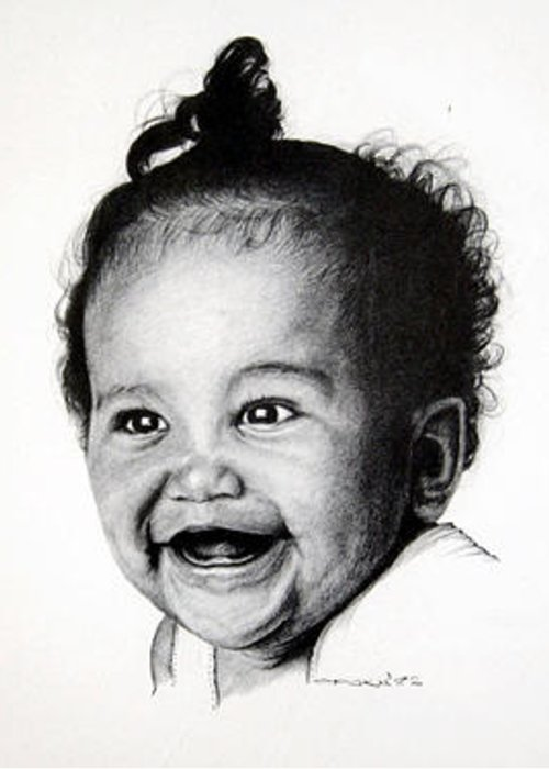Toothless Baby Smilling Greeting Card featuring the drawing Toothless Baby Smiles by Opoku Acheampong