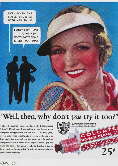 1932 Greeting Card featuring the photograph Toothpaste Ad, 1932 by Granger