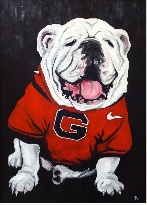 Bulldog Greeting Card featuring the painting Top Dawg by Pete Maier