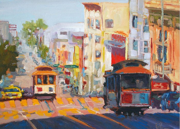 San Francisco Greeting Card featuring the painting Top Nob by Scott Palmer