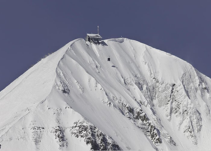 Lone Peak Greeting Card featuring the photograph Top Of The Tram by Mark Harrington