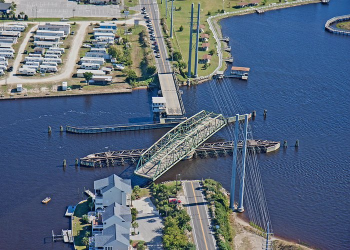 Topsail Greeting Card featuring the photograph Topsail Island Swing Bridge by Betsy Knapp
