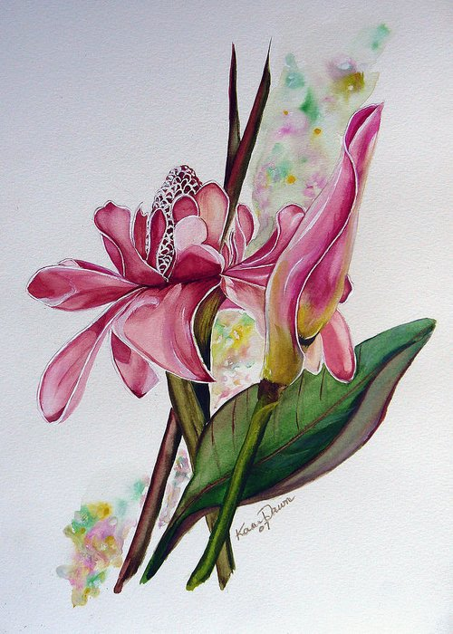 Flower Painting Floral Painting Botanical Painting Flowering Ginger. Greeting Card featuring the painting Torch Ginger Lily by Karin Dawn Kelshall- Best