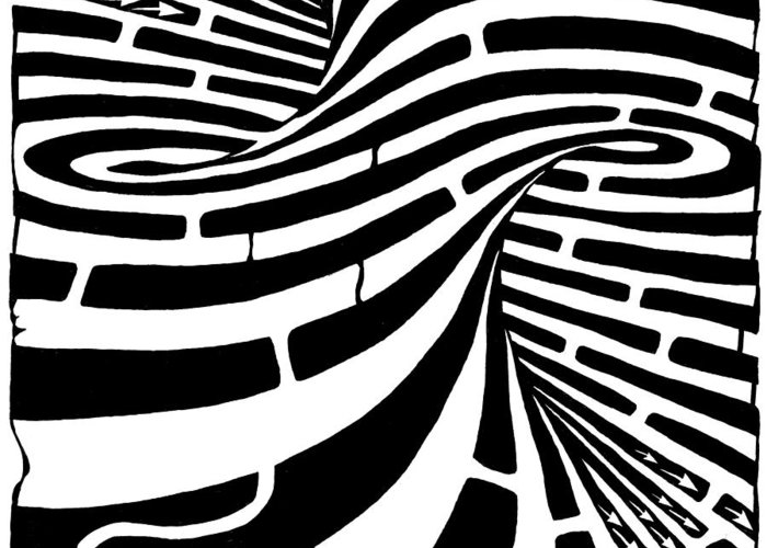 Maze Greeting Card featuring the drawing Tornado Maze by Yonatan Frimer Maze Artist
