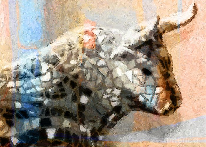 Toro Greeting Card featuring the painting Toro Taurus Bull by Lutz Baar