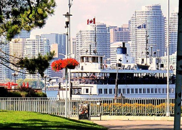 Toronto Greeting Card featuring the photograph Toronto Island Ferry Arrives by Ian MacDonald