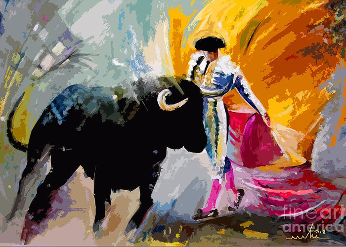 Toros Greeting Card featuring the mixed media Toroscape 03 by Miki De Goodaboom