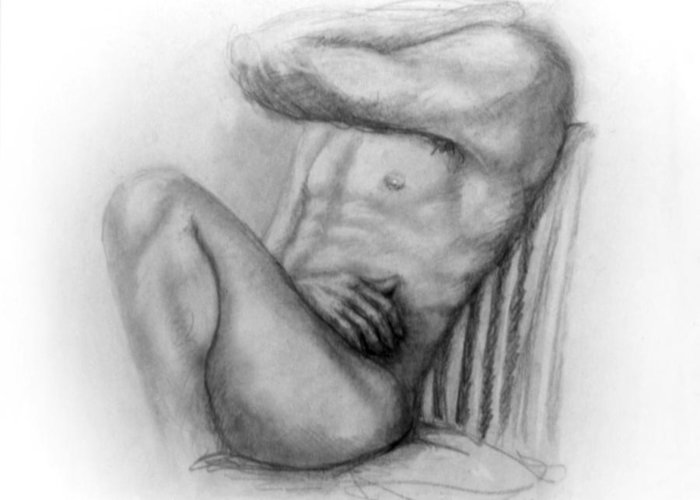 Man Greeting Card featuring the drawing Torso Chris I by John Clum
