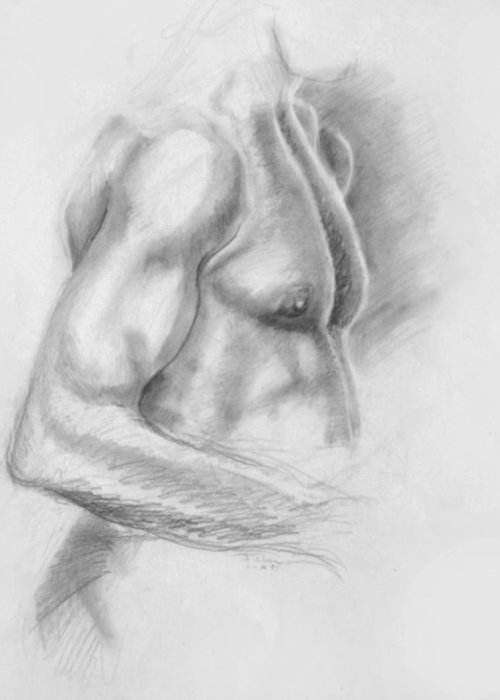 Torso Greeting Card featuring the drawing Torso Chris II by John Clum