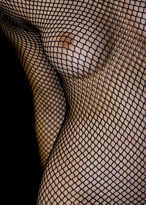 Black Greeting Card featuring the photograph Torso In Fish-net by Gabor Pozsgai