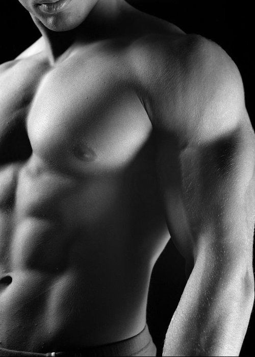 Male Greeting Card featuring the photograph Torso Of Model J by Dan Nelson