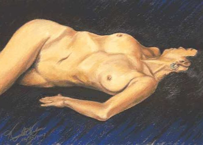 Nude Greeting Card featuring the painting Torso Study by Kenneth Kelsoe