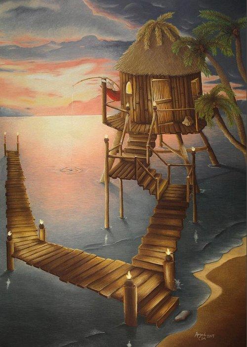 Tiki Greeting Card featuring the pastel Tortugan Riviera by Amanda Clark