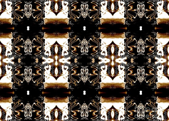 Abstract Pattern Greeting Card featuring the digital art Totheme Brown by Elisabeth Skajem Atter