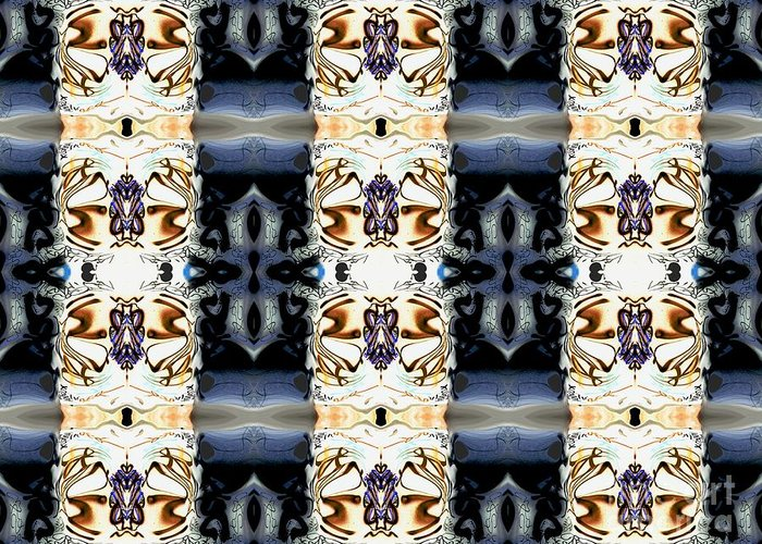 Abstract Pattern Greeting Card featuring the digital art Totheme Dark by Elisabeth Skajem Atter