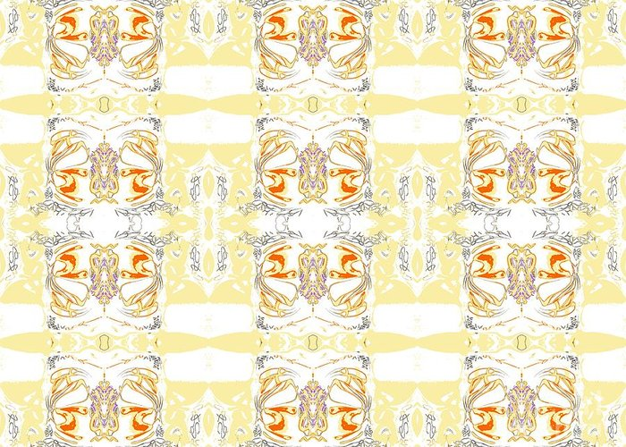 Abstarct Pattern Greeting Card featuring the digital art Totheme Yellow by Elisabeth Skajem Atter